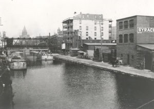 The Erie Canal on the east side of downtown Syracuse